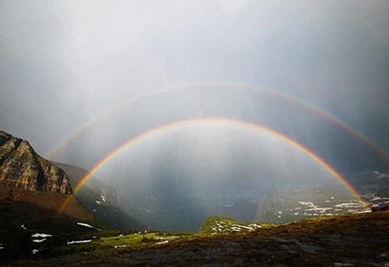 What causes double rainbows?